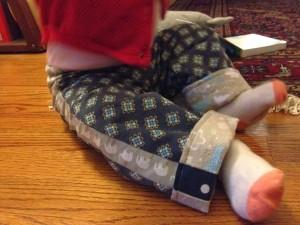Handmade fleece lined baby pants